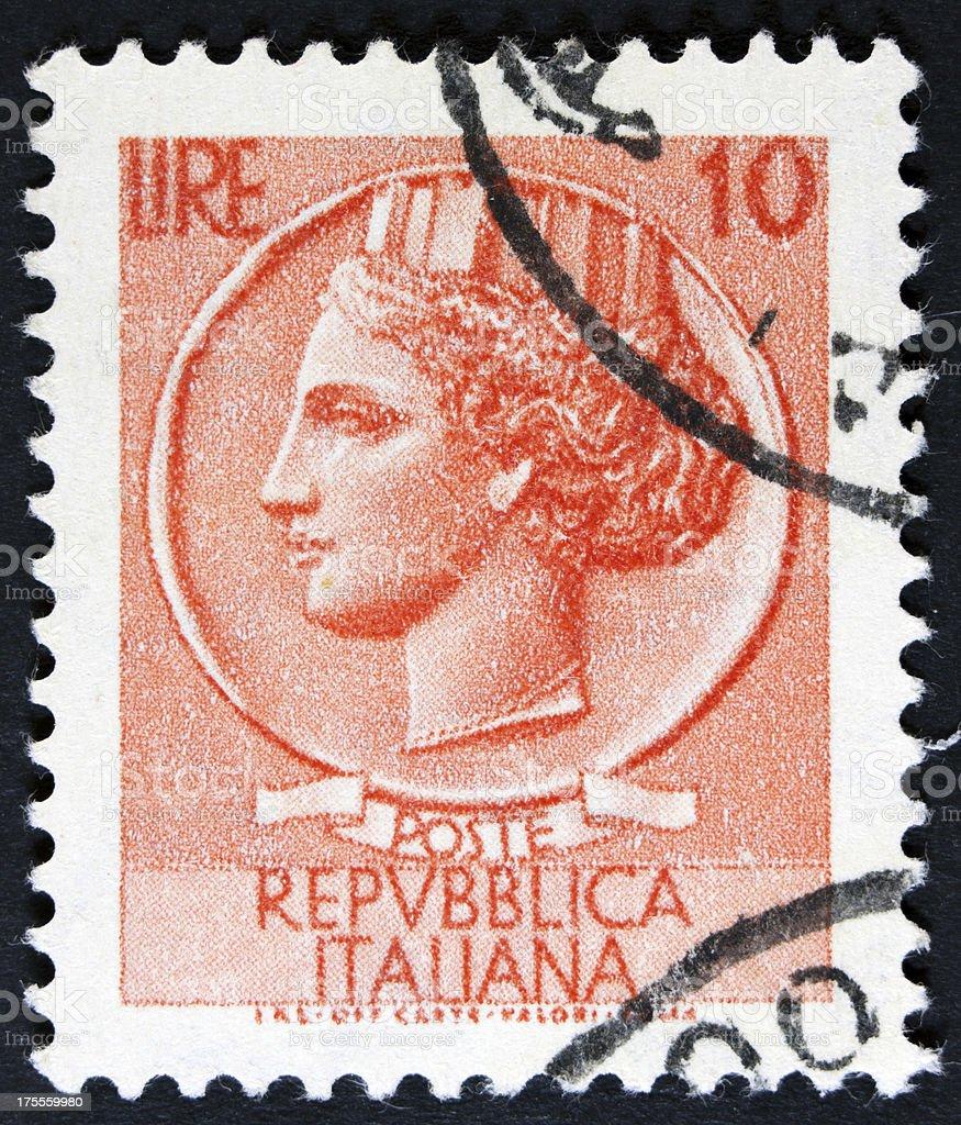 Retro postage stamp royalty-free stock photo