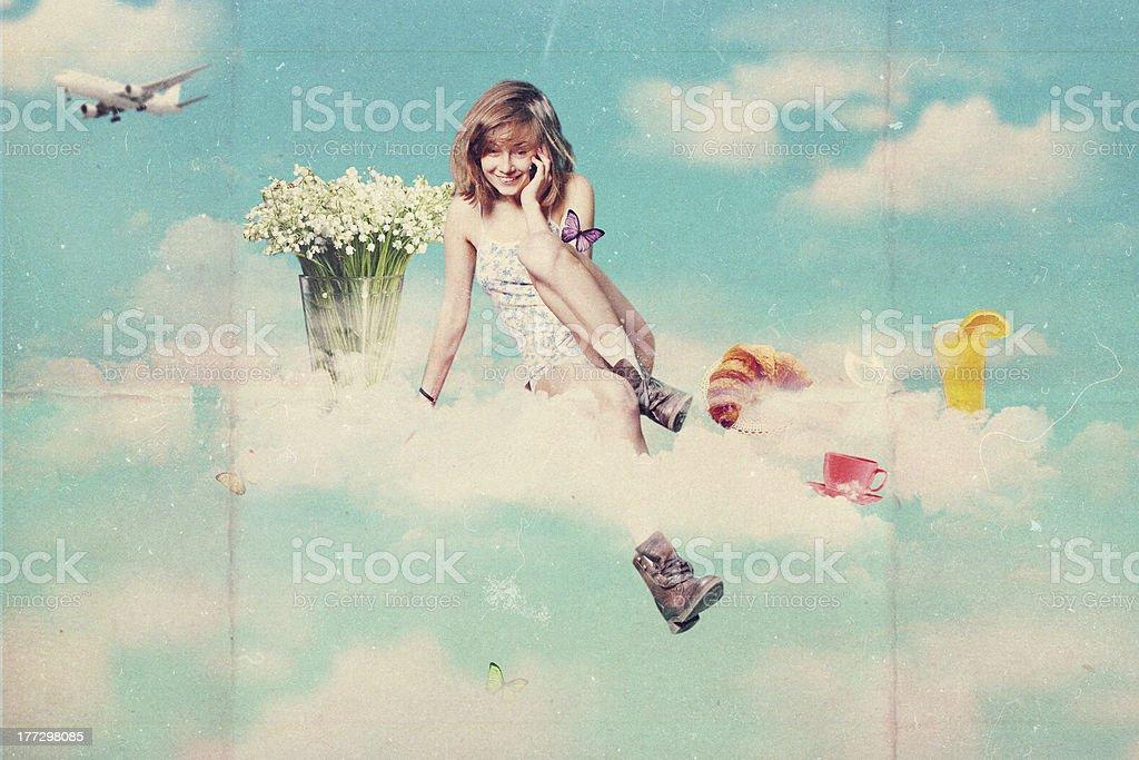 retro tarjeta postal con belleza mujer joven foto de stock libre de derechos