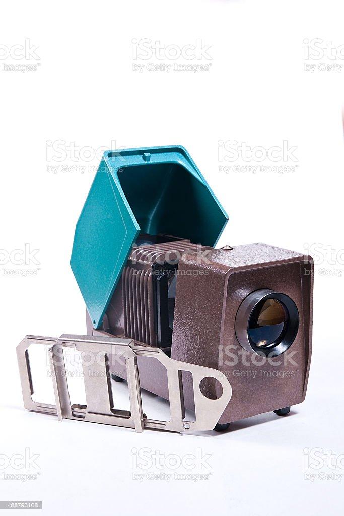 Retro proyector para mostrar de portaobjetos sobre el fondo blanco foto de stock libre de derechos