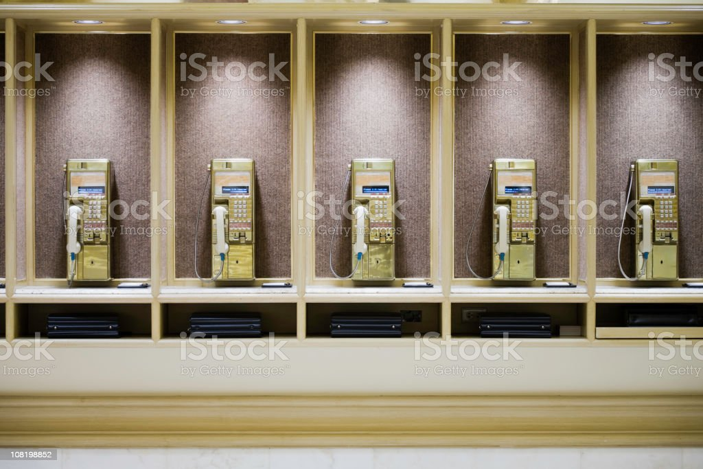 Retro Public Telephone Booths in a Row stock photo