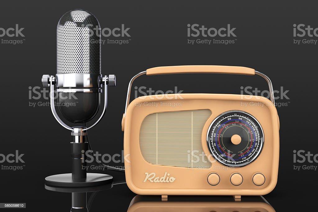 Retro Radio and Vintage Microphone. 3d Rendering stock photo