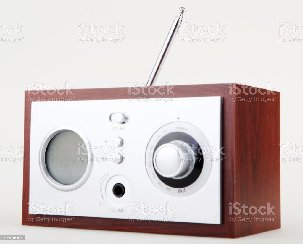 Retro radio isolated on white background stock photo