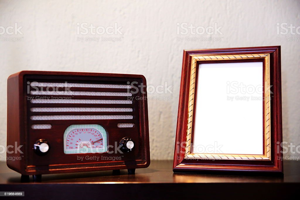 Retro Radio on Picture Frame stock photo