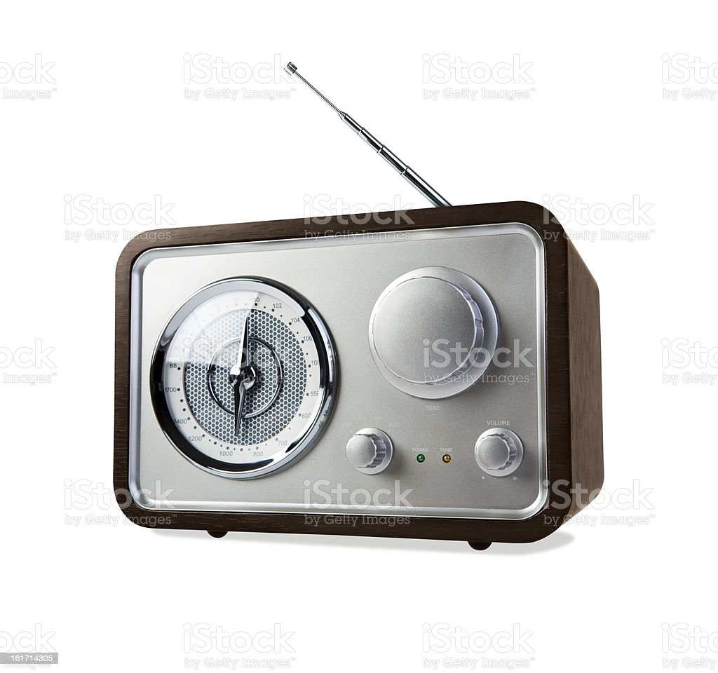 Retro Radio on White Background with Clipping Path royalty-free stock photo