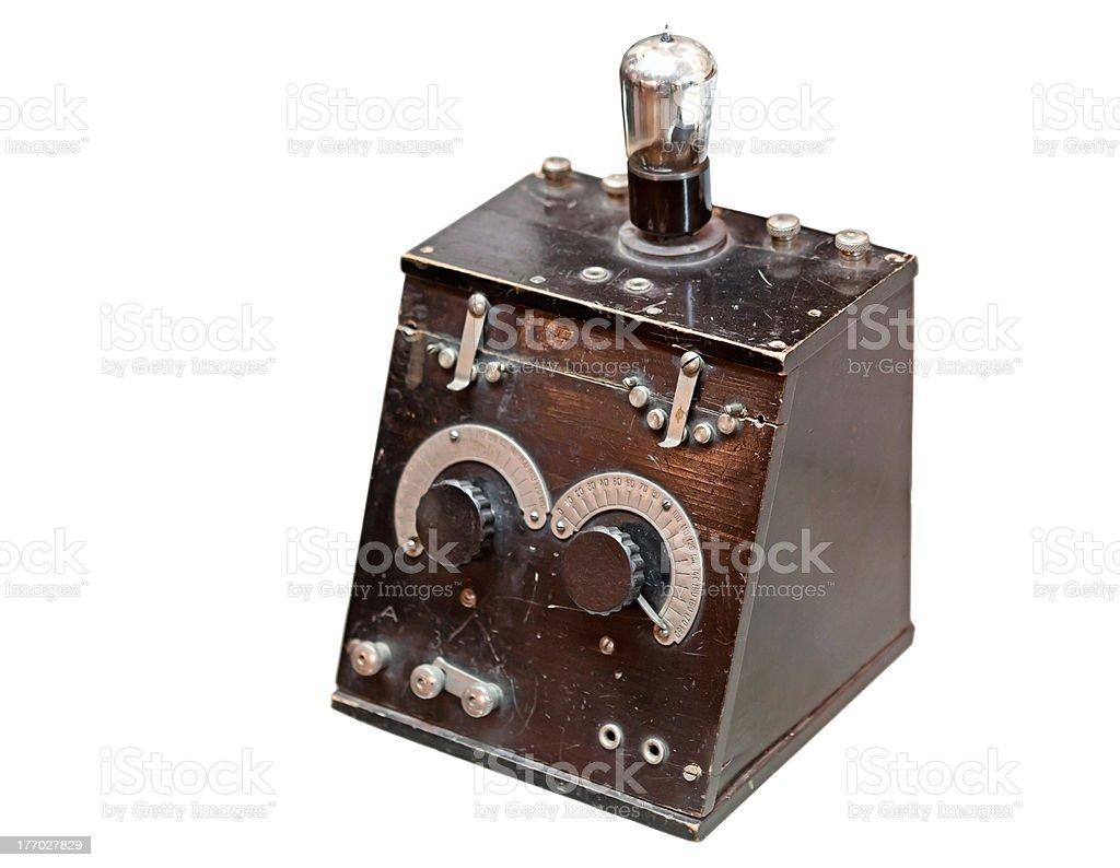 Retro radio receiver isolated on white stock photo