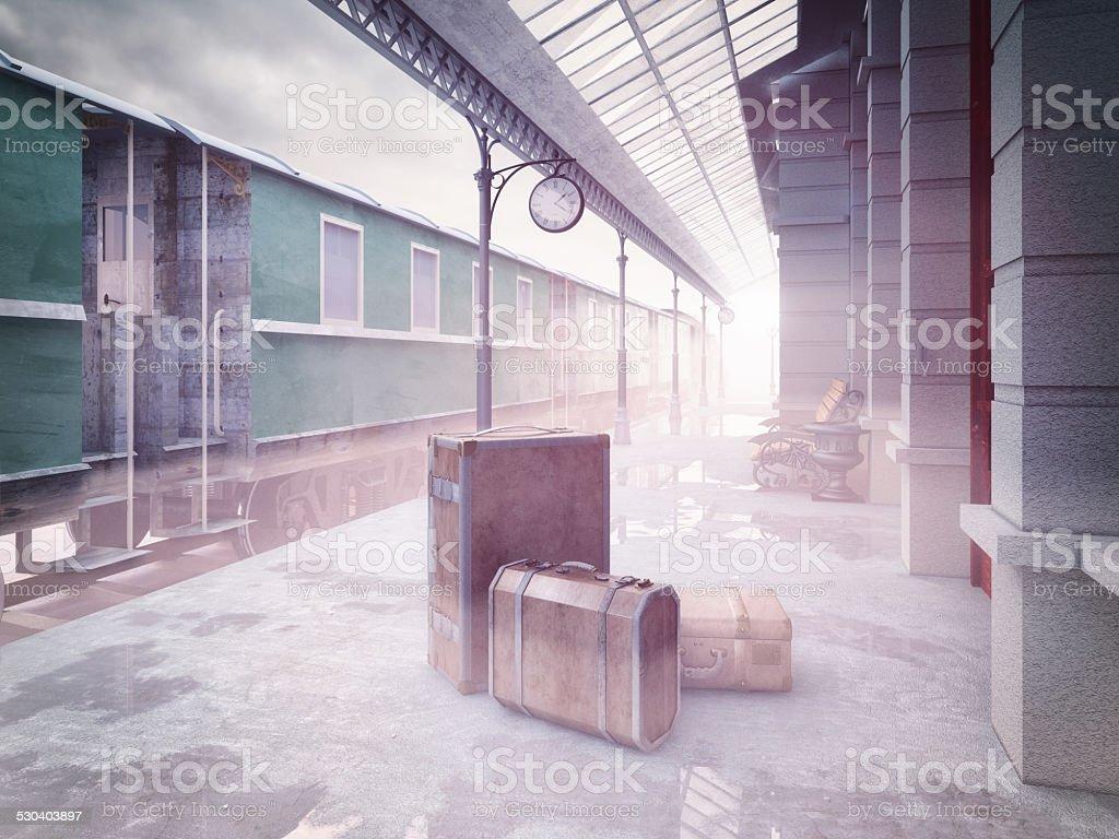 retro railway  train station stock photo