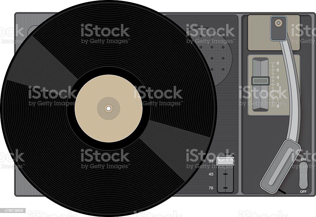 Retro record player with 33 rpm record stock photo