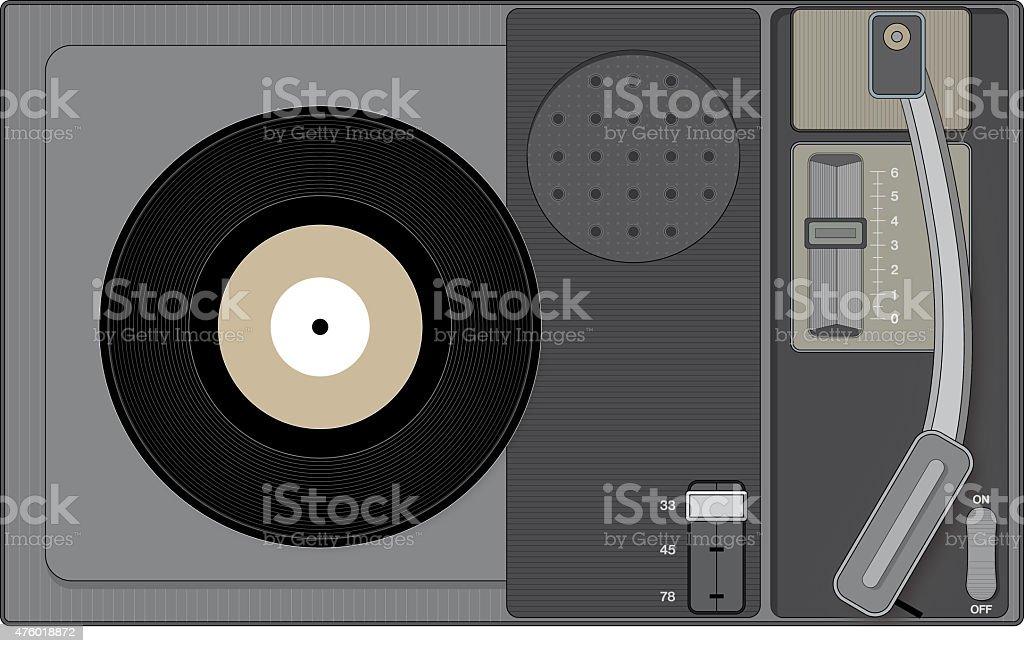 Retro record player with 45 rpm record stock photo