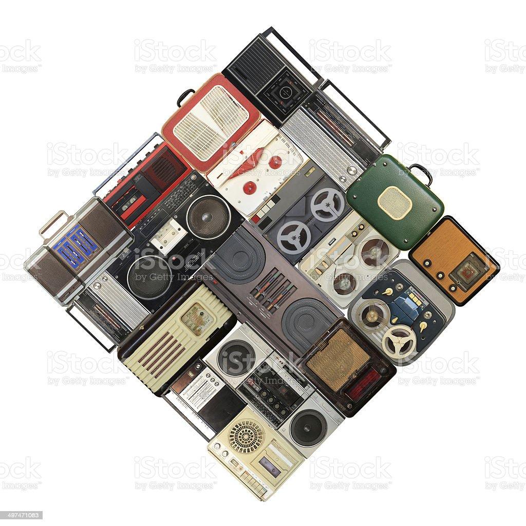 Retro recorder, audio system royalty-free stock photo