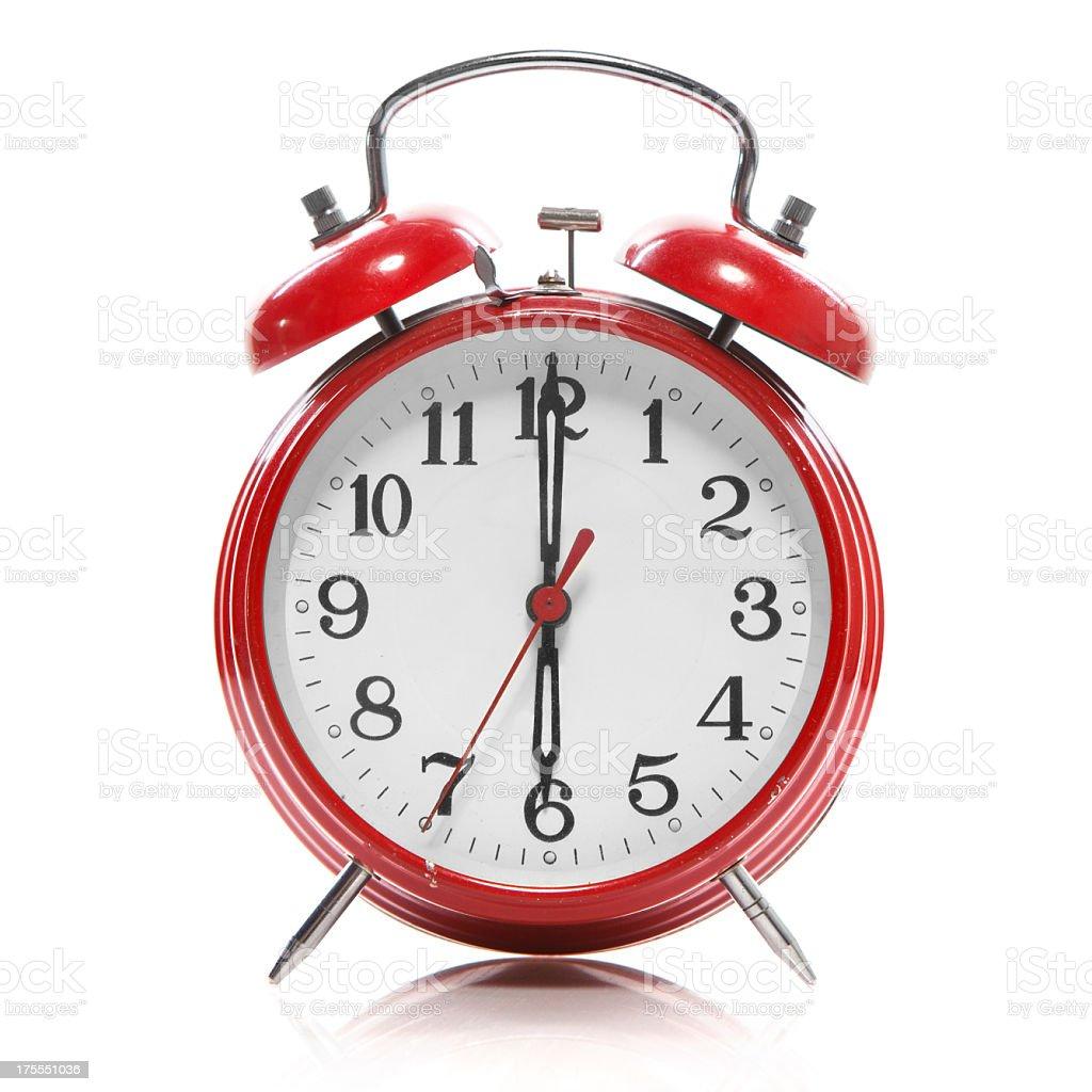 Retro Red Alarm Clock on White Background stock photo