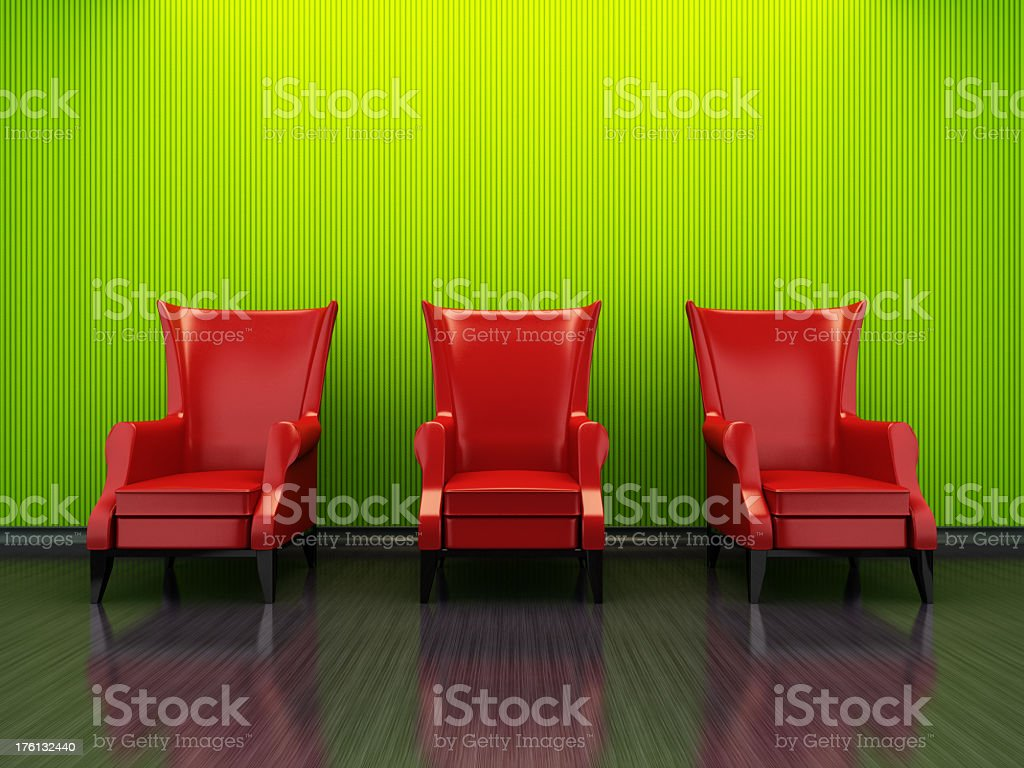 Retro Red Armchairs royalty-free stock photo