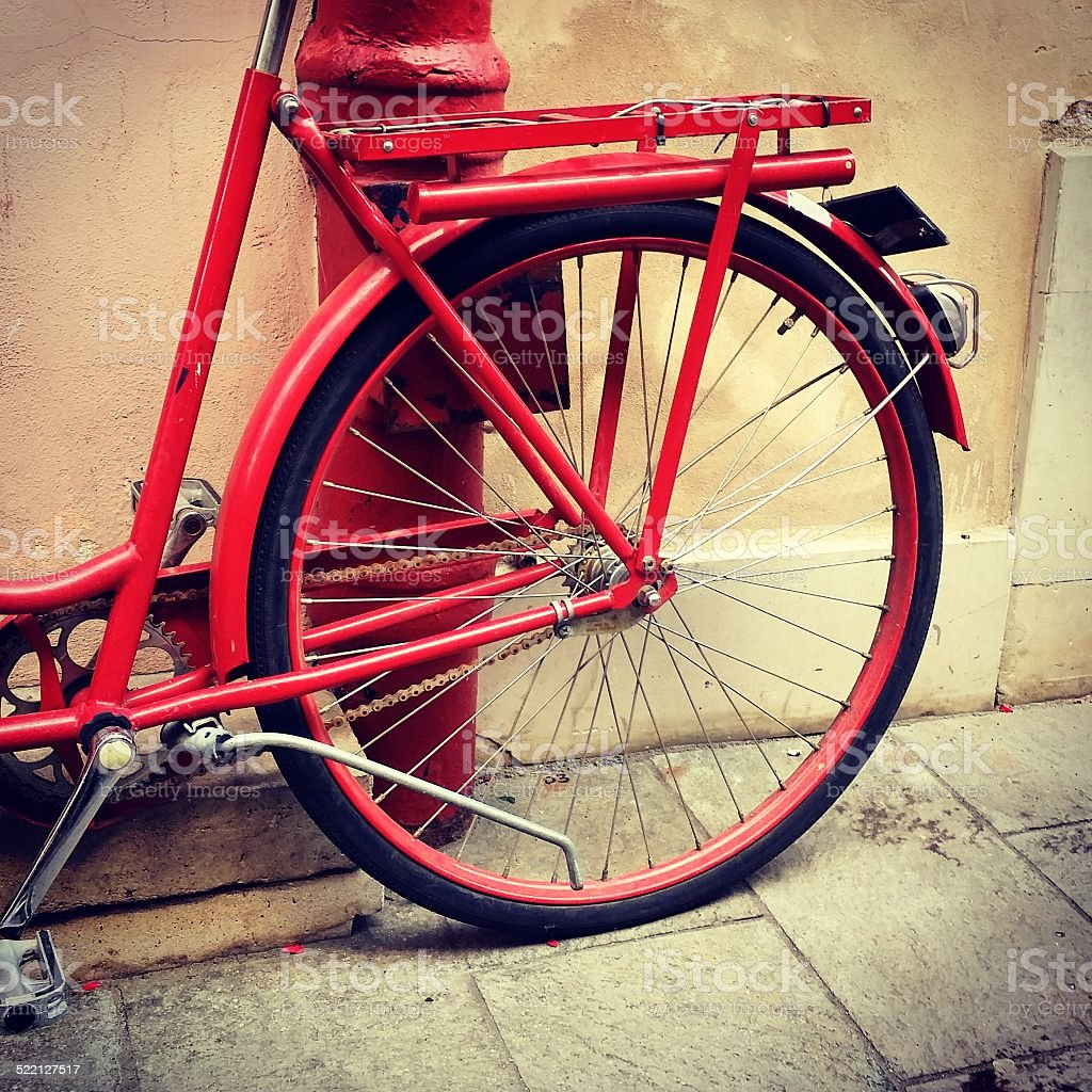 Retro red bike circle background stock photo