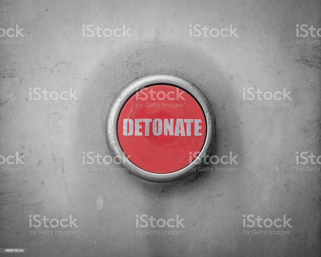 Retro Red Detonate Button stock photo