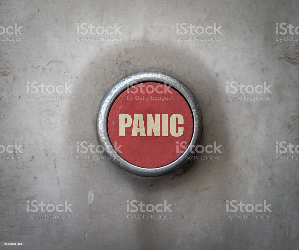 Retro Red Industrial Panic Button stock photo