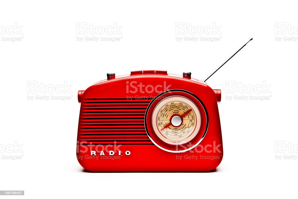 Retro Red Radio Set, Studio Isolated stock photo