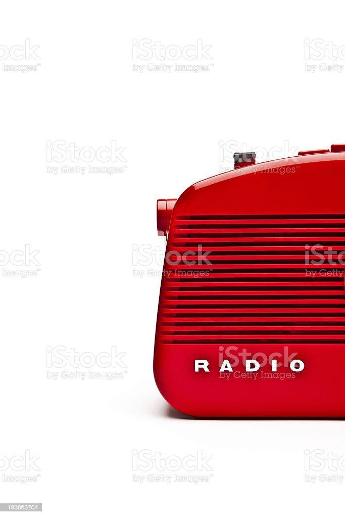 Retro Red Radio Set, Studio Isolated stock photo