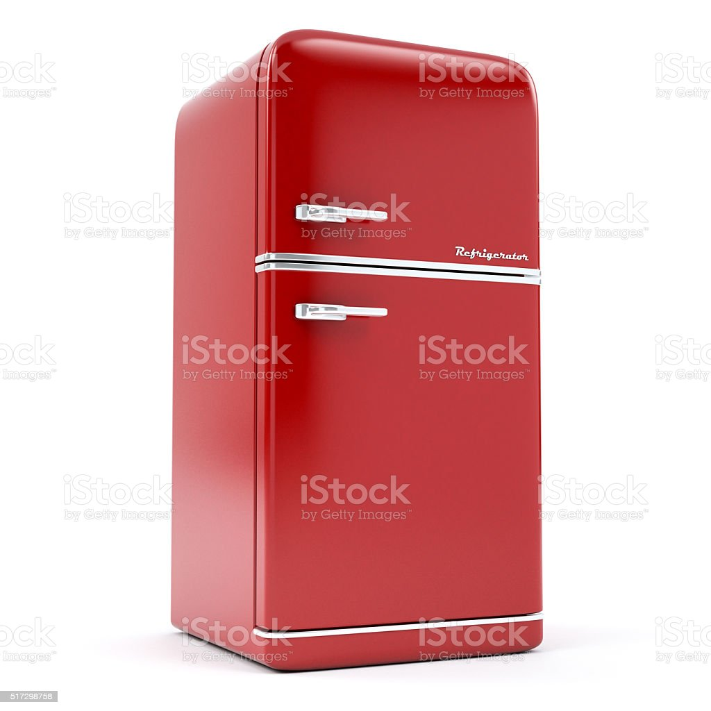 retro refrigerator stock photo