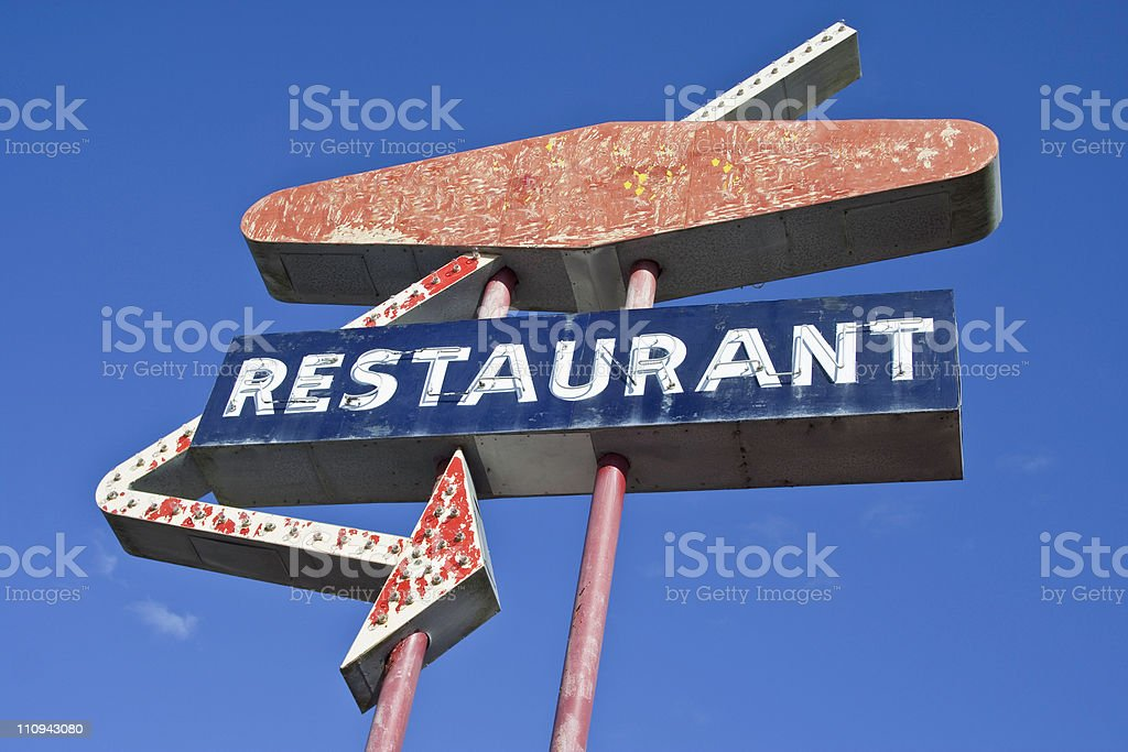 Retro Restaurant Sign stock photo
