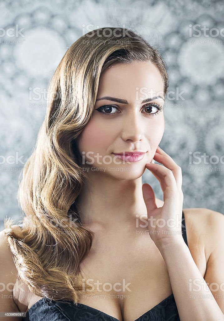 Retro revival hairstyle. royalty-free stock photo
