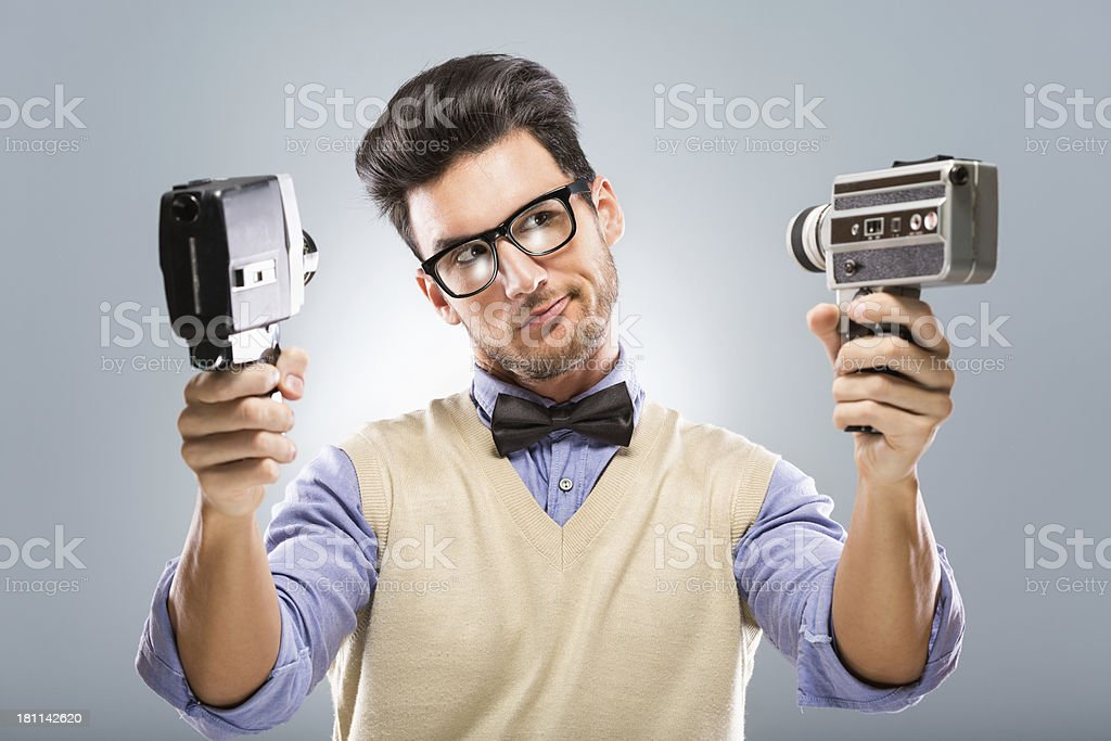 Retro revival man with old fashion camera royalty-free stock photo