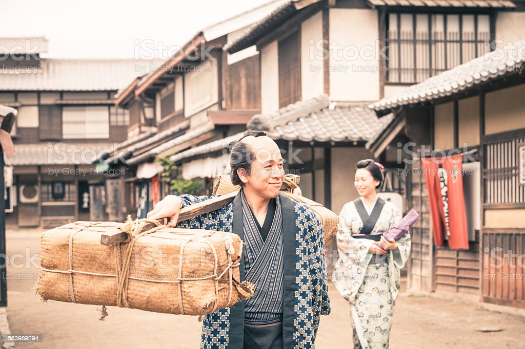 Retro revival view of people in traditional japanese clothes stock photo