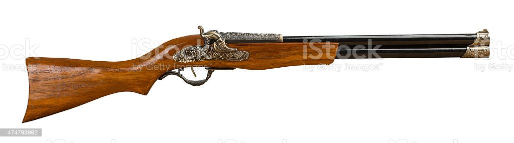 retro rifle isolated on the white background stock photo
