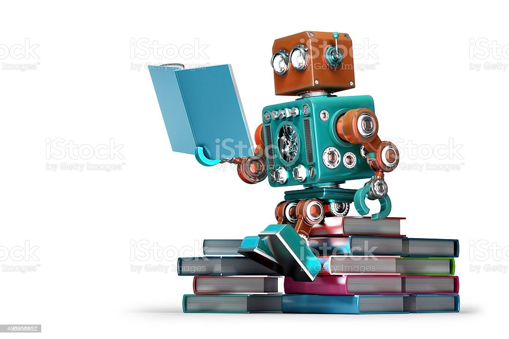 Retro robot reading a book. Isolated. Contains clipping path stock photo