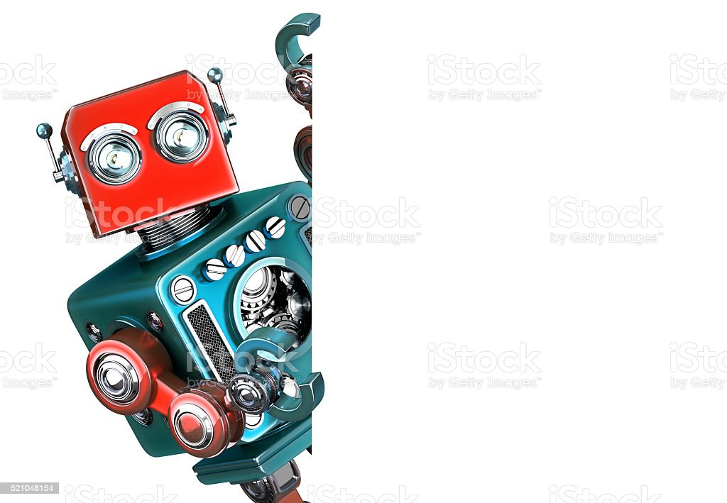 Retro Robot showing blank banner. Isolated. Contains clipping path stock photo