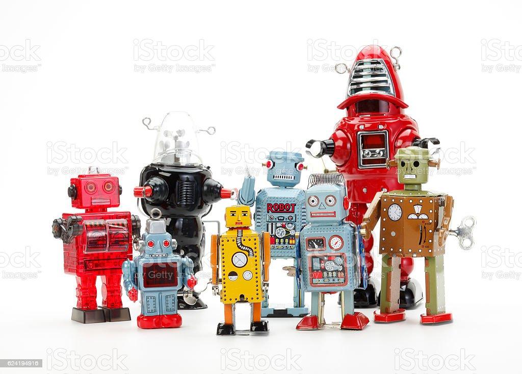 retro robot toy group stock photo