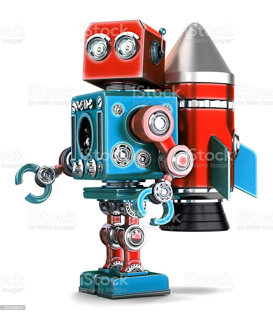 Retro Robot with rocket jetpack. Isolated. Contains clipping path stock photo