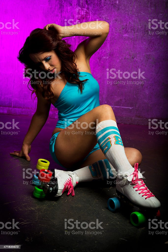 Retro rollergirl royalty-free stock photo