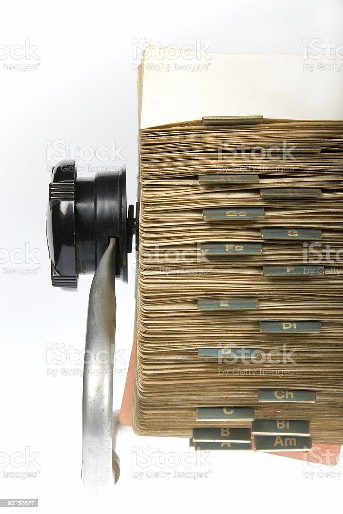 Retro Rotary Card File Close-up stock photo