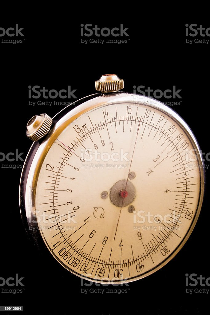 retro round slide-rule with fine scratched glass royalty-free stock photo