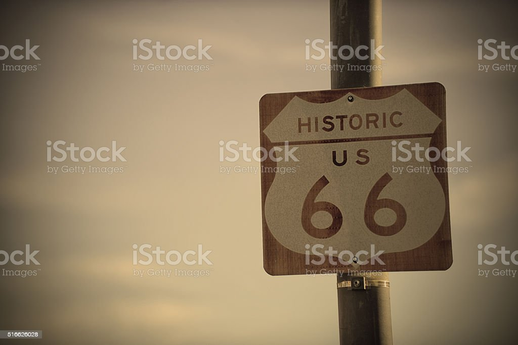 Retro Route 66 Road Sign on the historic US highway stock photo