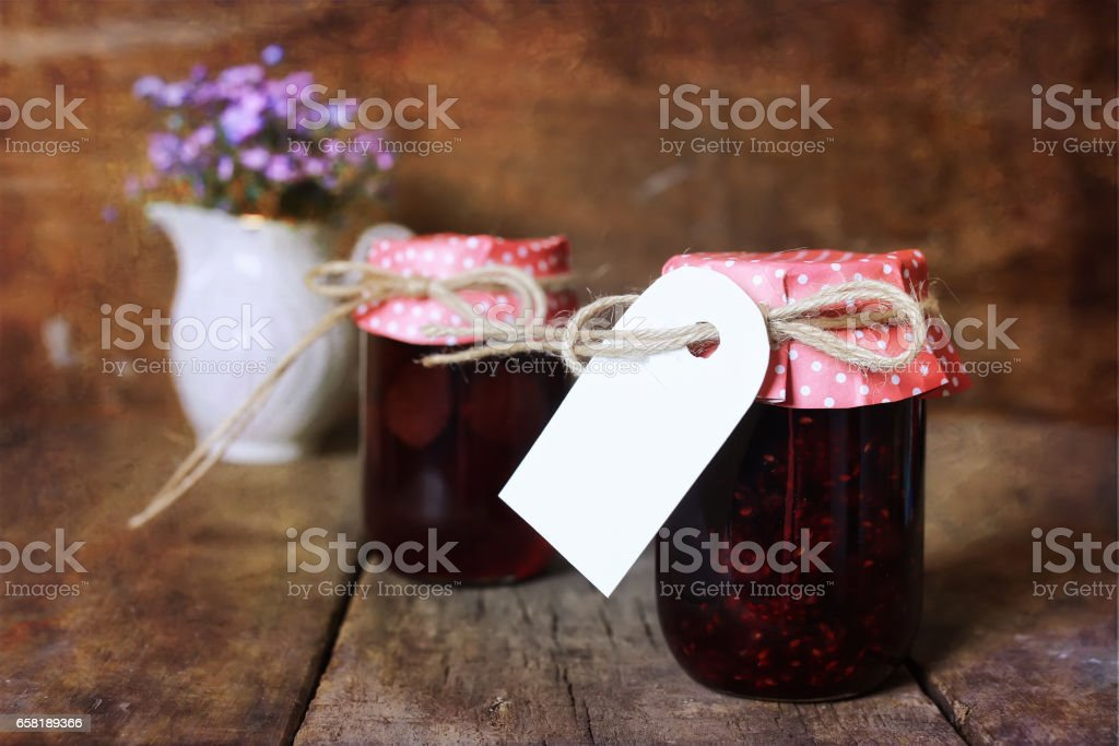 retro rustic homemade jam jar stock photo