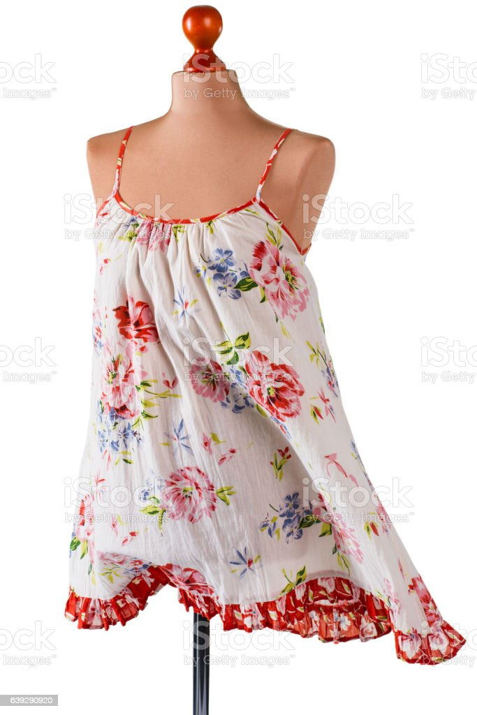 Retro sarafan with floral pattern. stock photo