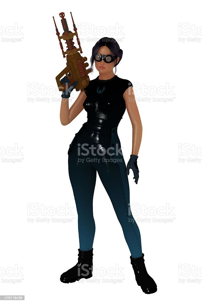 Retro scifi girl with large hand gun stock photo
