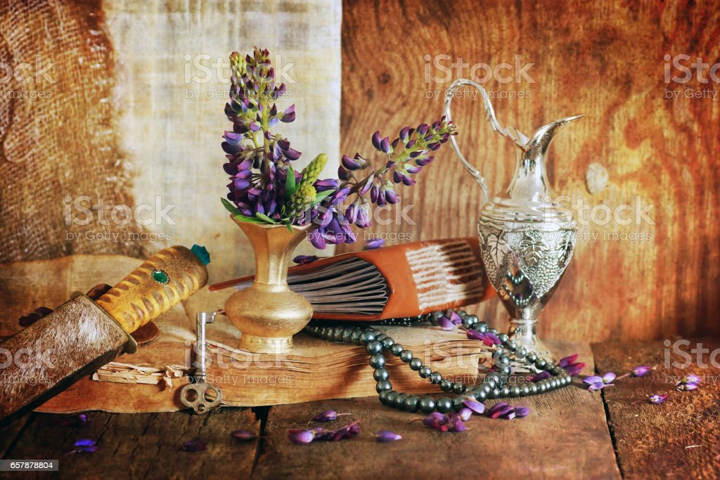 retro scratched effect concept arabian faith with book and flowe stock photo