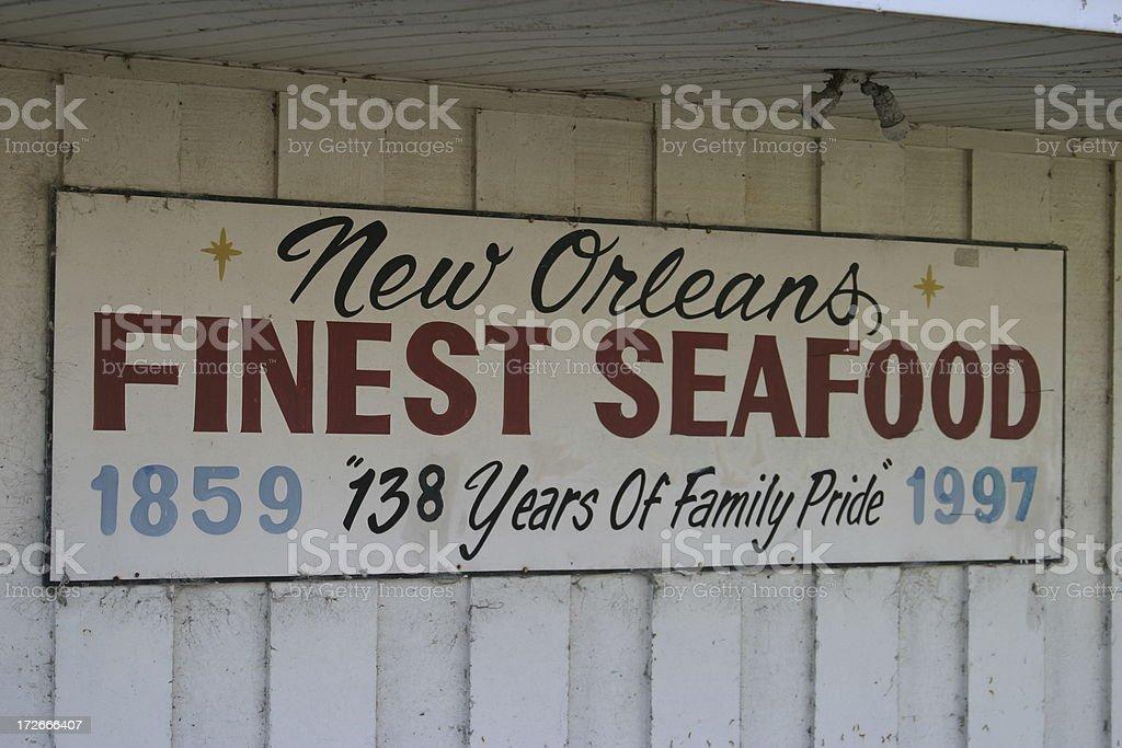 Retro Seafood Market Sign royalty-free stock photo