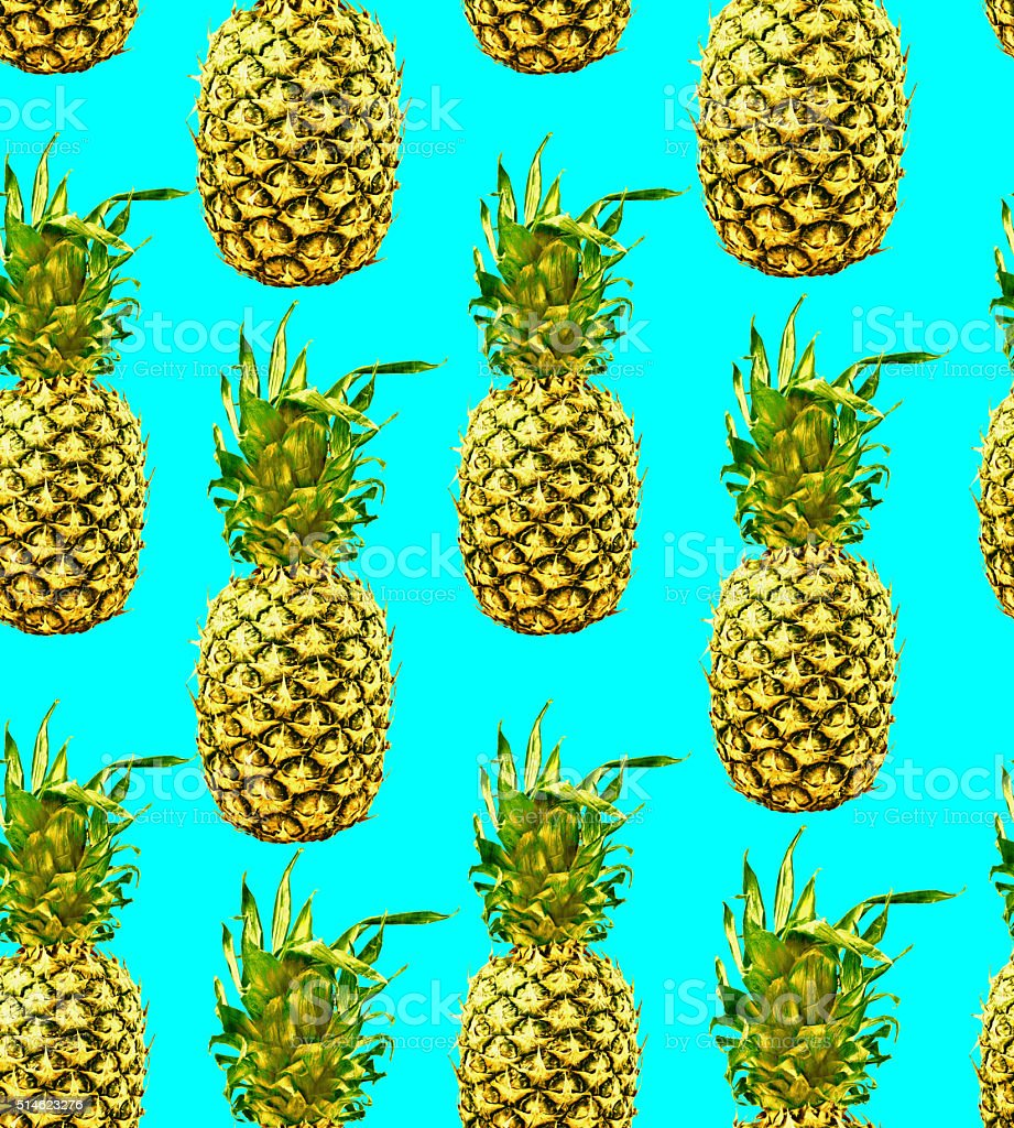 Retro seamless pattern with colorful pineapple stock photo