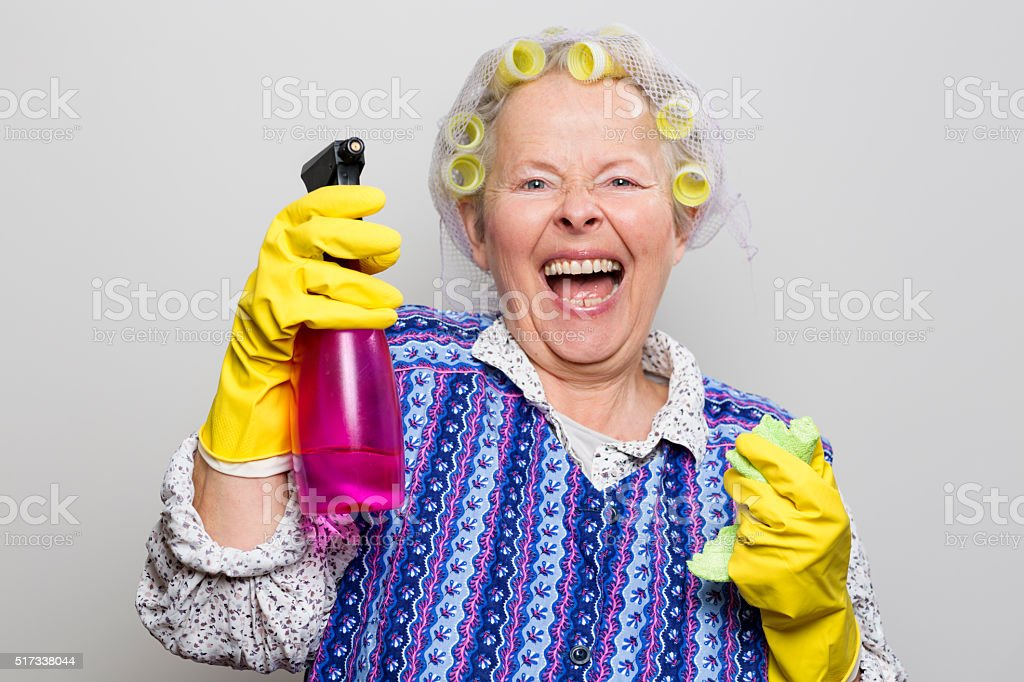 retro senior housewife happiness stock photo