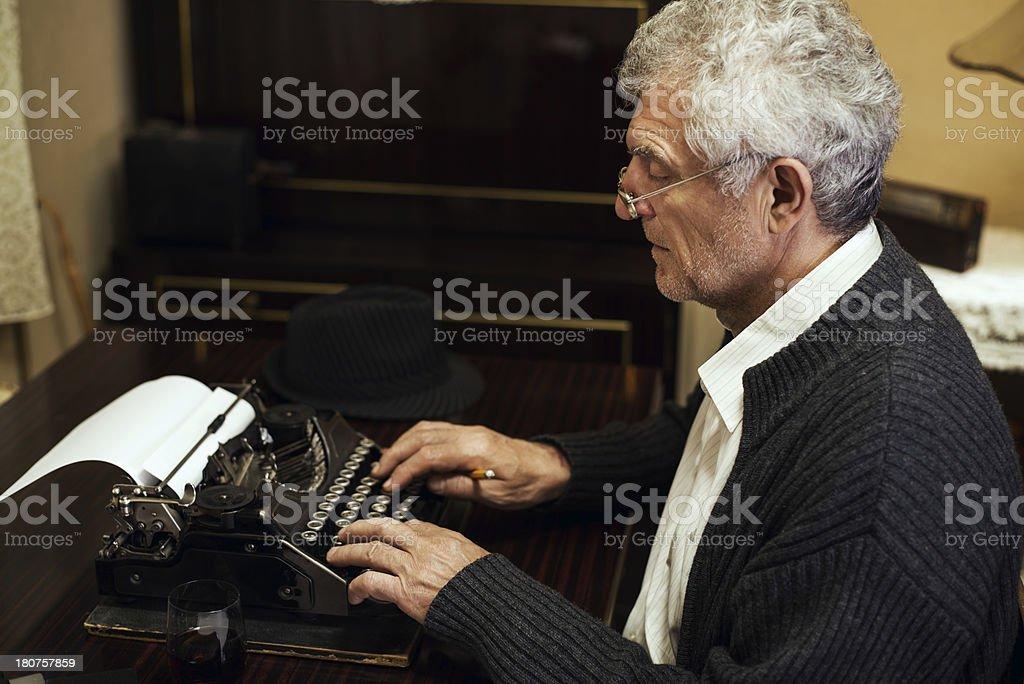 Retro Senior Man writer royalty-free stock photo