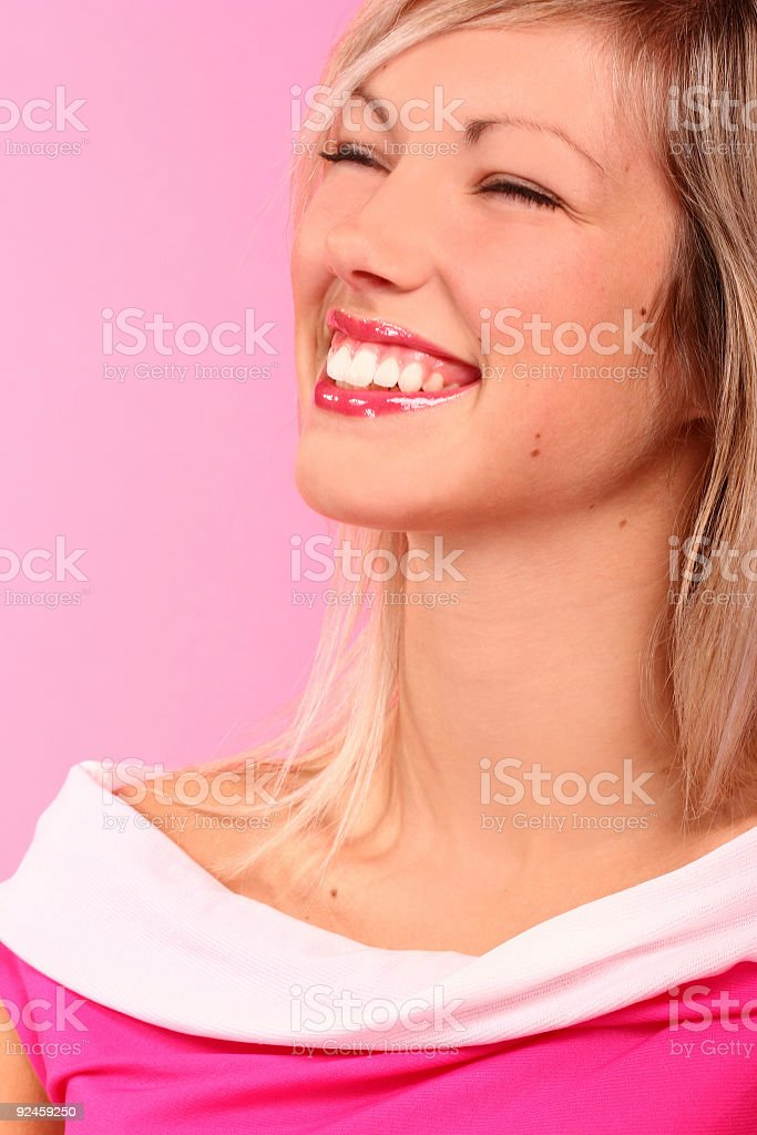 retro shiny girl smiling in a pink world stock photo