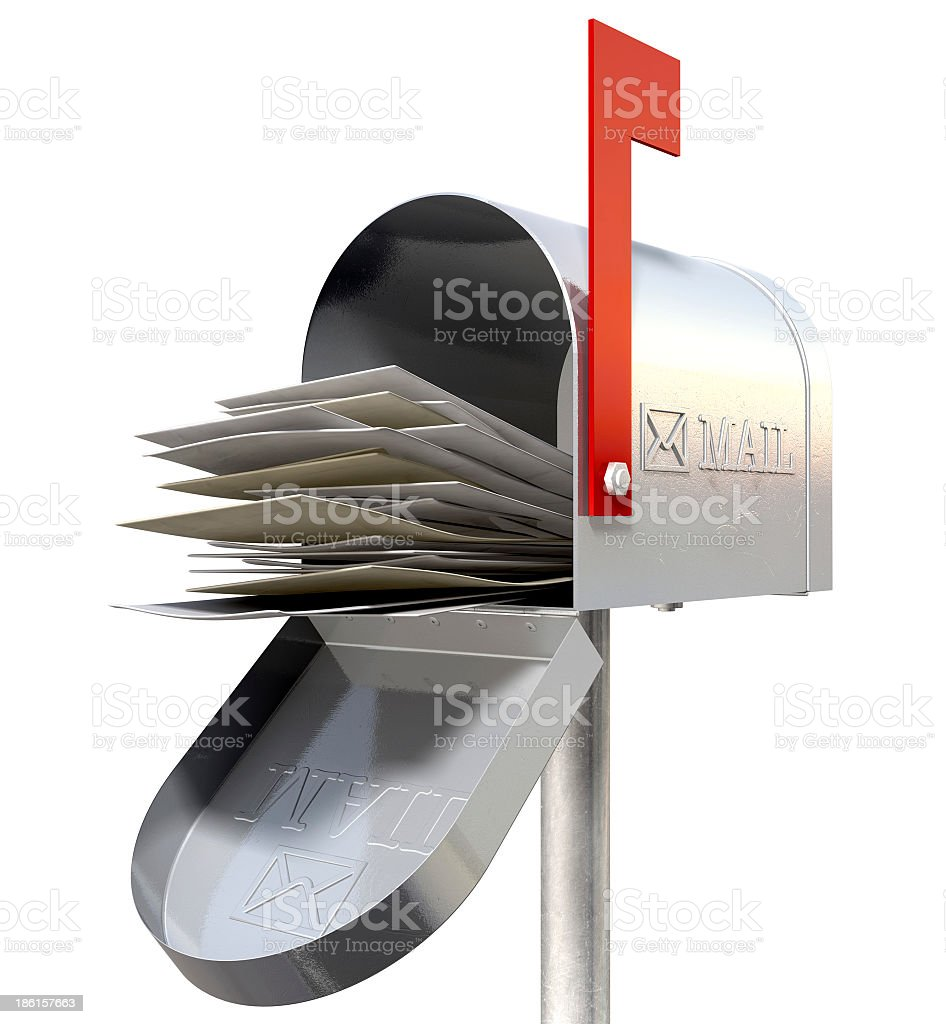 Retro silver metal mailbox full of mail stock photo