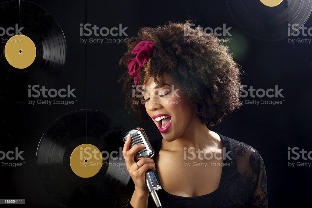 retro singer stock photo