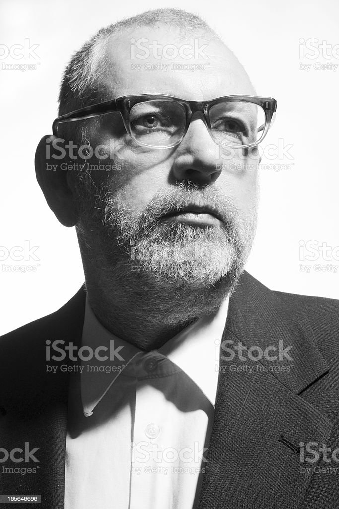 Retro sixties style black and white male portrait. stock photo
