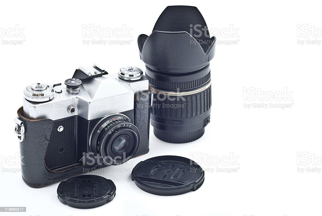 Retro SLR camera stock photo