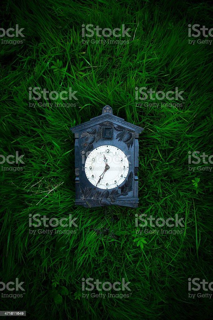 retro Soviet clock on the grass royalty-free stock photo