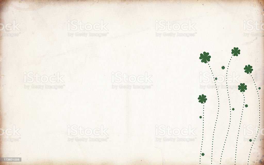 Retro St. Patrick Grunge Shamrock Flowers XXXL royalty-free stock photo