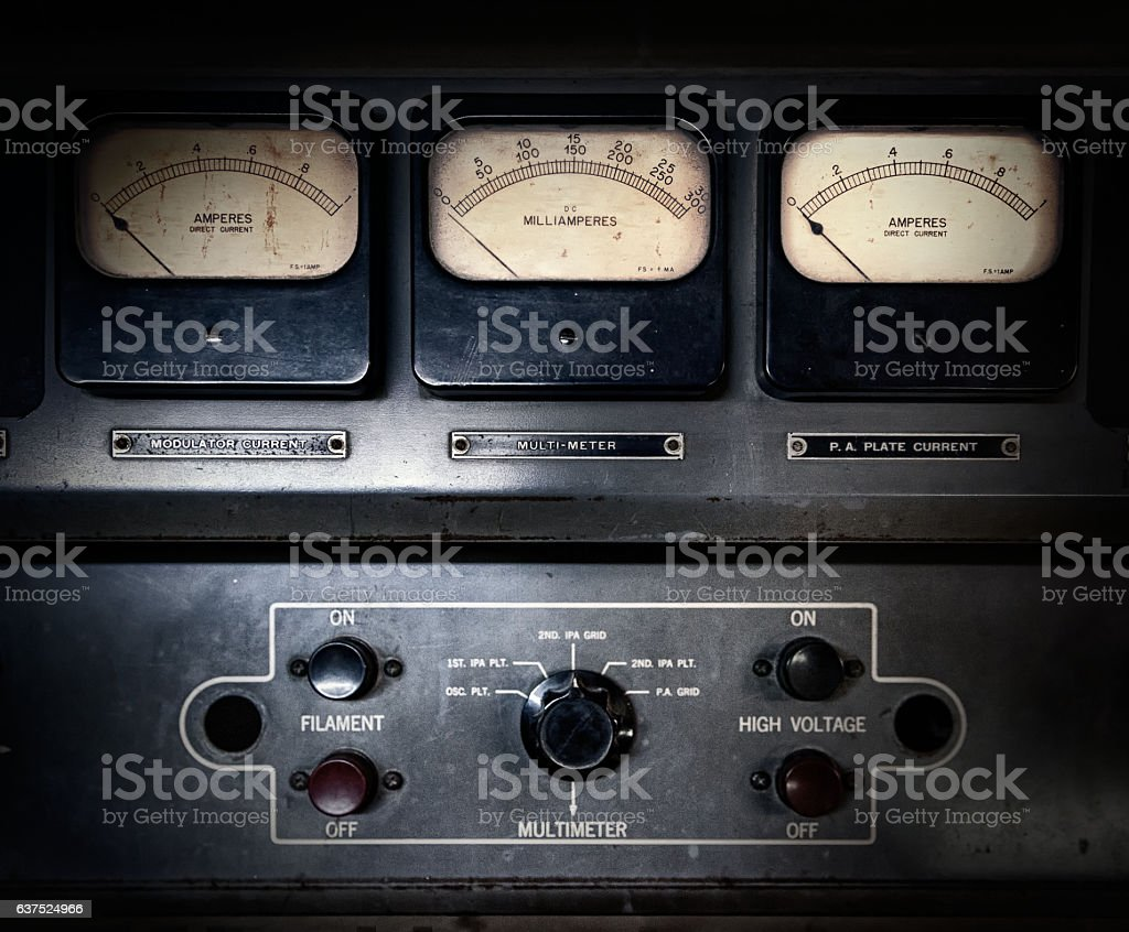 Retro steampunk electrical equipment stock photo